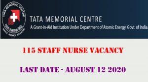 Tata Memorial Hospital 115 staff nurse vacancy august 2020 advt